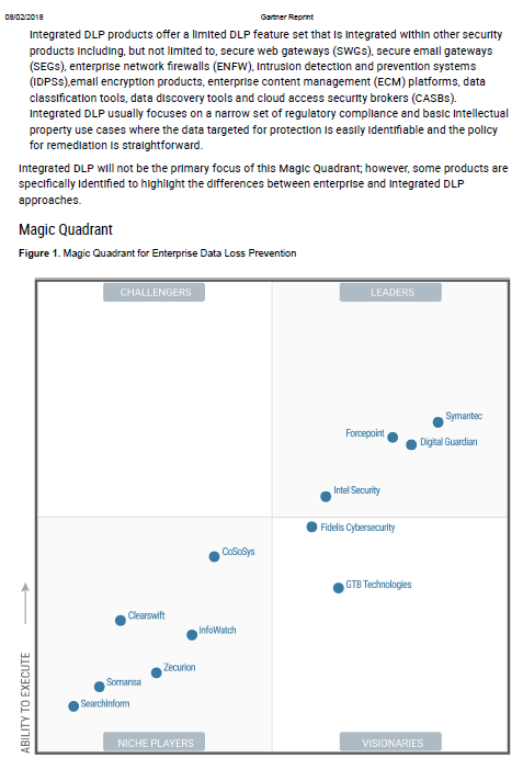 Gartner Magic Quadrant for Enterprise Data Loss Prevention 2017